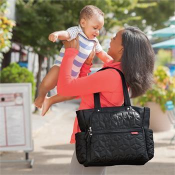 Skip Hop Riverside Hafif Kumaş Anne Bebek Bakım Kol Çantası (Bej - Krem Çizgili)