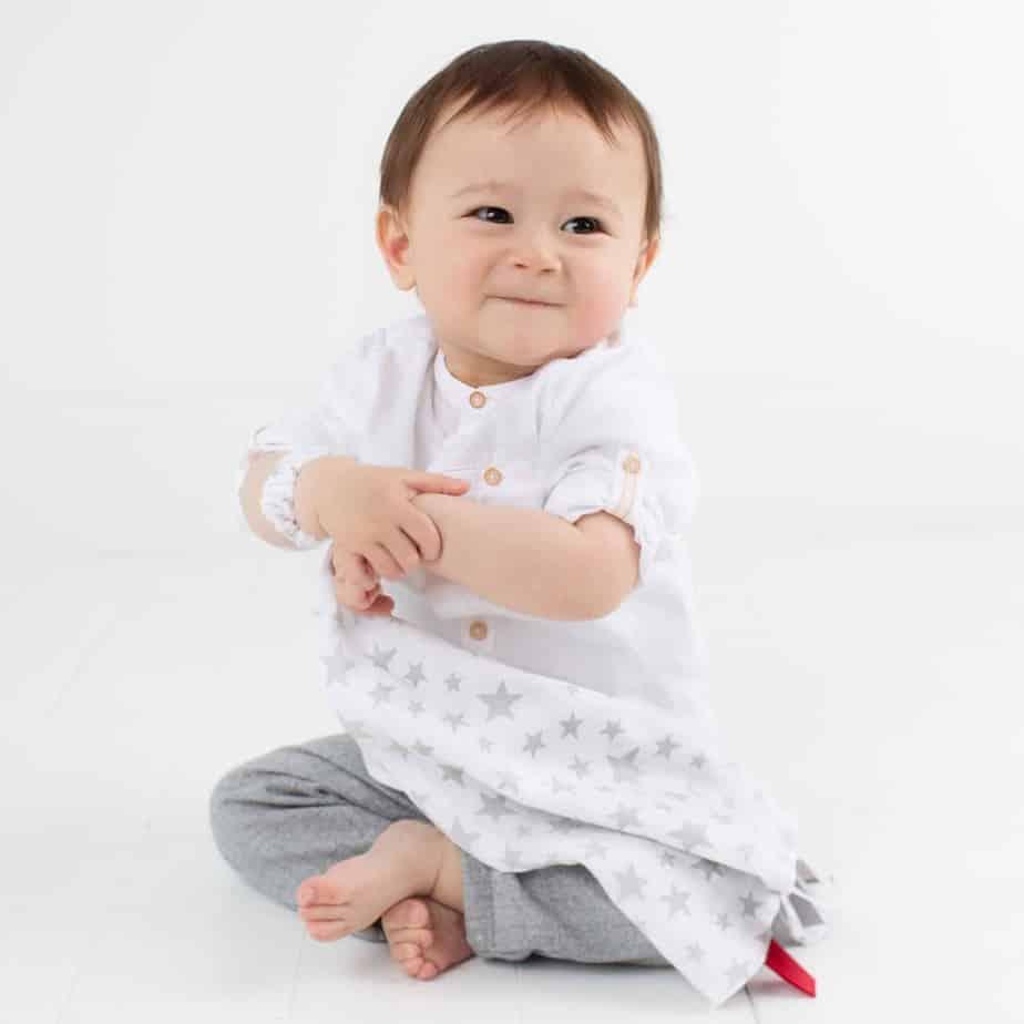 Cheeky Chompers Muslin Comforter (Silver Stars)