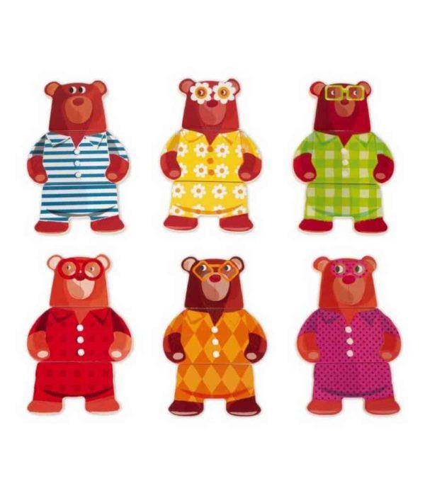 Janod Ahşap Pijama Partisi Giydir Puzzle (Ayı)