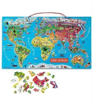 Janod Magnetic World Puzzle - İngilizce Versiyon (92 Parça Magnet)