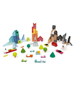 Janod Ahşap Şehir Yarat Yer Matı (70 Parça Blok)