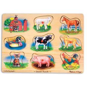 Melissa & Doug Ahşap Sesli Yapboz (Çiftlik Hayvanları)
