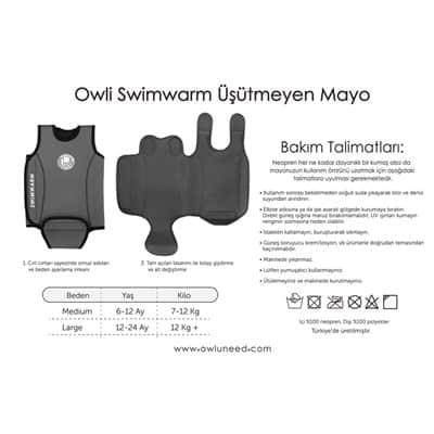 Owli Swimwarm İşütmeyen Bebek Mayosu (12-24 Ay) Lacivert-Kırmızı