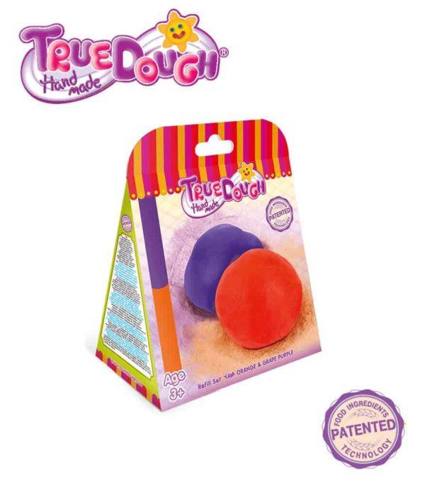 TrueDough Doğal Oyun Hamuru Yedek İkili Paket (Turuncu & Mor)
