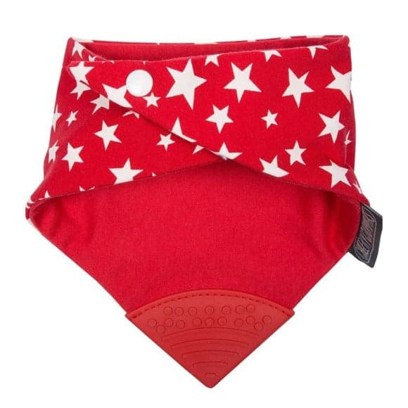 Cheeky Chompers Diş Kaşıyıcılı Fular Önlük (Red Stars)