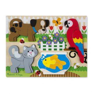 Melissa & Doug Ahşap Tombul Parçalı Yapboz (Evcil Hayvanlar)
