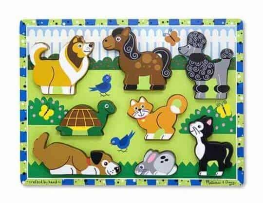 Melissa & Doug Ahşap Tombul Yapboz (Evcil Hayvanlar)