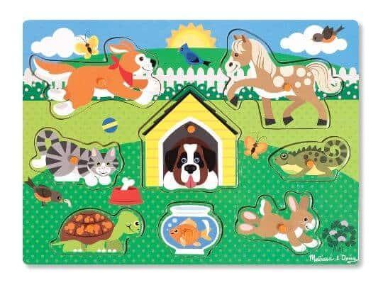 Melissa & Doug Ahşap Tutmalı Yapboz (Evcil Hayvanlar)