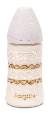 Suavinex Couture Geniş Ağız Biberon 270 ml Yuvarlak Uç 3 Pozisyonlu Silikon Uç - Beyaz