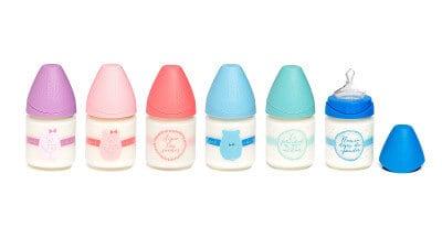 Suavinex Geniş Ağız Cam Biberon İç Pozisyonlu Silikon Uç  Bear - Pembe (120 ml )