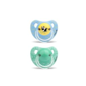 Suavinex Ortodontik Silikon Emzik -Panda Mavi ( 18 + ay) 2 li