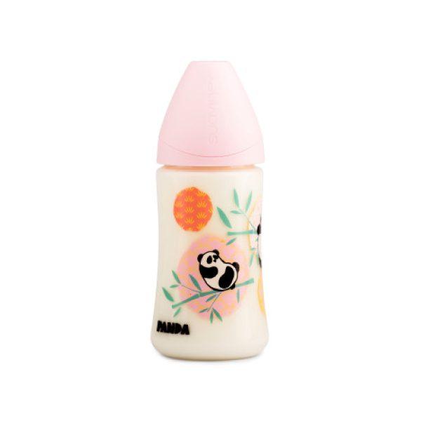 Suavinex PP Geniş Ağız Biberon 270 ml - Ortodontik Silikon Uç (No.1 Orta Akış) Panda (Pembe)