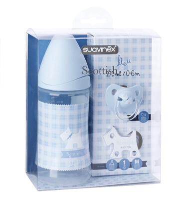 Suavinex Set-Mavi ( 270 ml PP Biberon + 0-6 Ay Silikon Emzik + Emzik Zinciri)