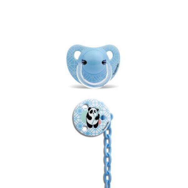 Suavinex Silikon Ortodontik Emzik ( 6 - 18 ay ) + Emzik Zinciri Set Panda (Mavi)