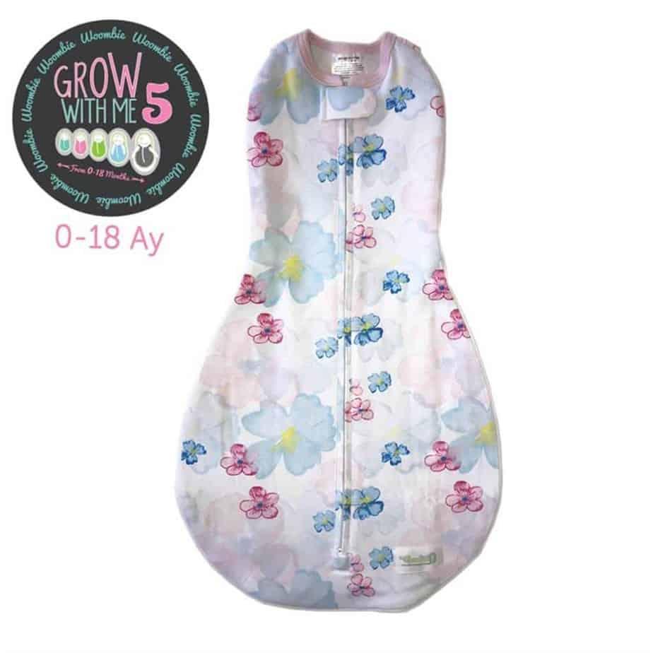 Woombie Grow With Me | Büyüyebilen Kundak - Flowy Flowers 0-18 Ay