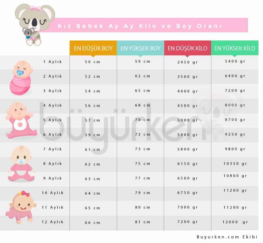kız bebek boy kilo oranı