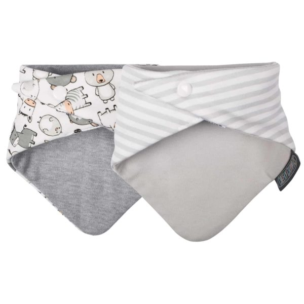 Cheeky Chompers Neckerbib Panda Pals & Grey Stripes2
