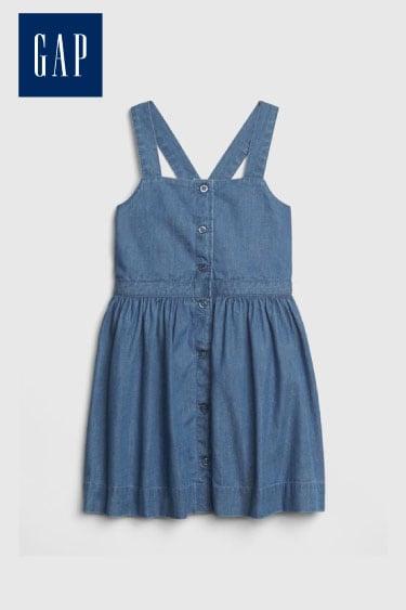 gap denim önden düğmeli elbise