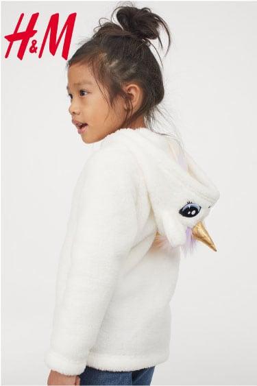 hm aplikeli kız tüylü ceket