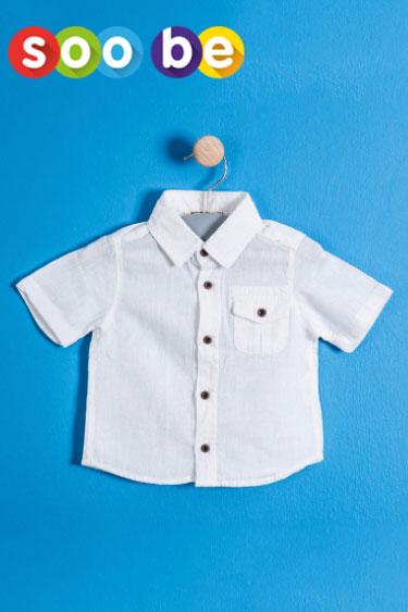soobe erkek çocuk kısa kol beyaz gömlek