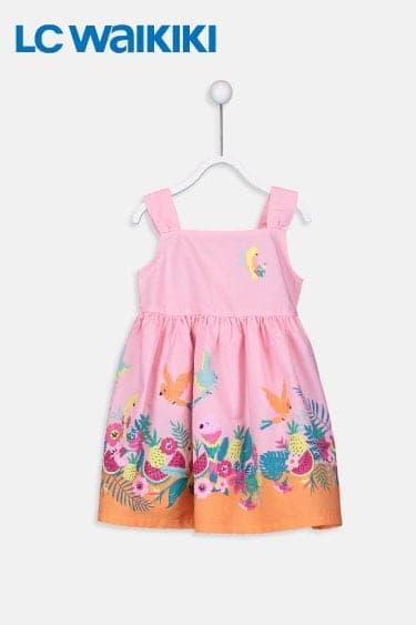 lc waikikki kız bebek desenli poplin elbise