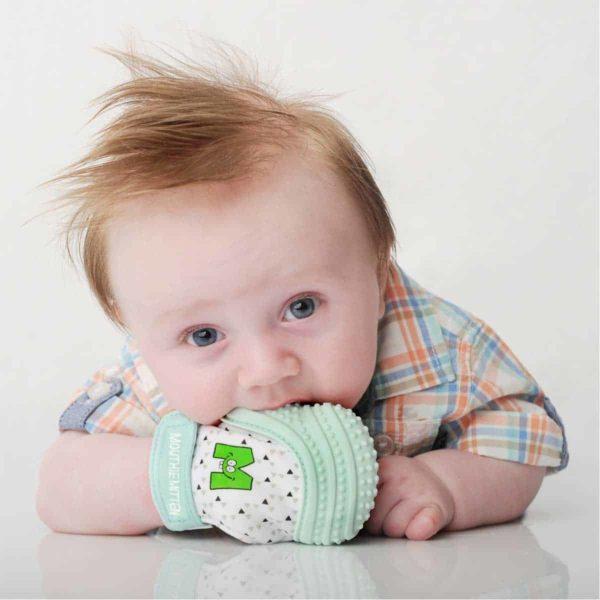 mouthie mitten diş kaşıyıcı eldiven nane yeşili genel
