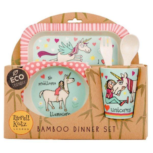 Tyrrell katz bambu çocuk yemek seti unicorn 2