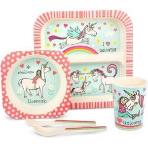 Tyrrell katz bambu çocuk yemek seti unicorn