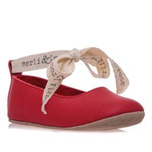 Merli&Rose Deri Bebek Bağcıklı Ayakkabı Kırmızı