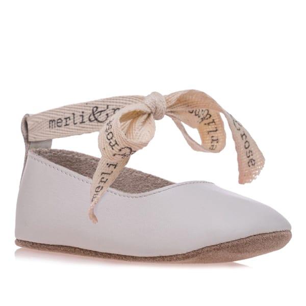Merli&Rose Deri Bebek Bağcıklı Ayakkabı Krem