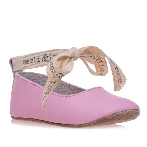 Merli&Rose Deri Bebek Bağcıklı Ayakkabı Pembe