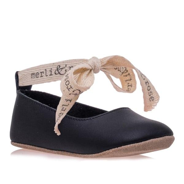 Merli&Rose Deri Bebek Bağcıklı Ayakkabı Siyah