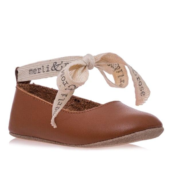 Merli&Rose Deri Bebek Bağcıklı Ayakkabı Taba