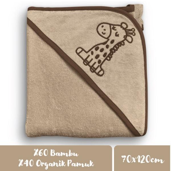 Minacles Yeni Nesil Pratik Bebek Banyo Havlusu | Sütlü Kahve/Zürafa Desenli 2