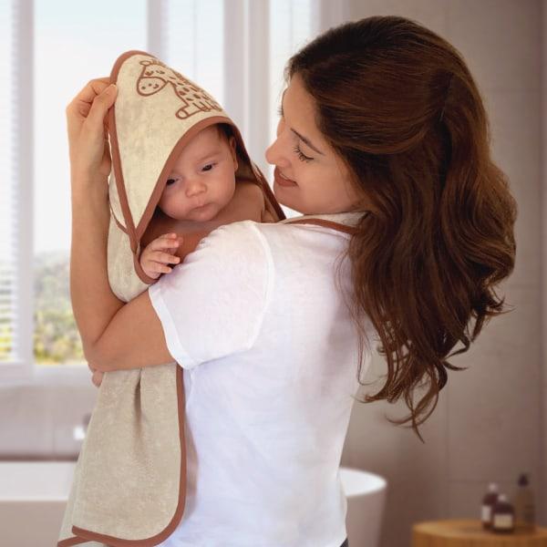 Minacles Yeni Nesil Pratik Bebek Banyo Havlusu | Sütlü Kahve/Zürafa Desenli 4