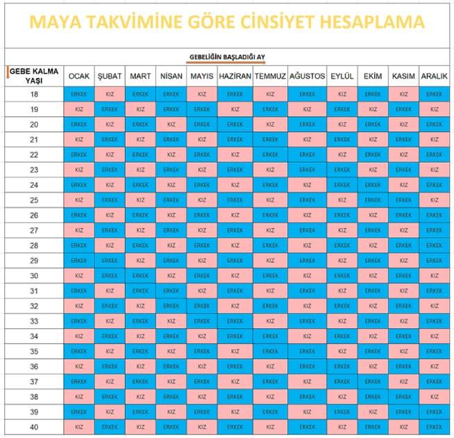 Maya Takvimi ile Bebek Cinsiyet Tahmini