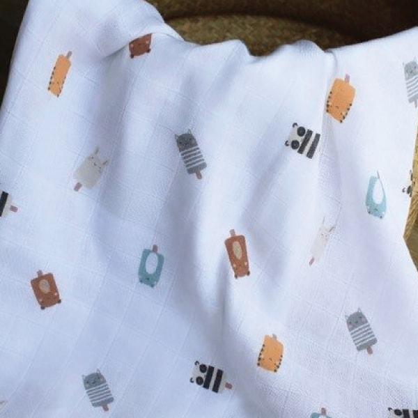 Mama Yoyo Çok Amaçlı Organik Müslin Örtü Mice Cream 2