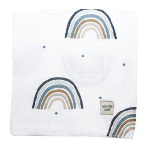 Mama Yoyo Çok Amaçlı Organik Müslin Örtü Rainbow - Blue