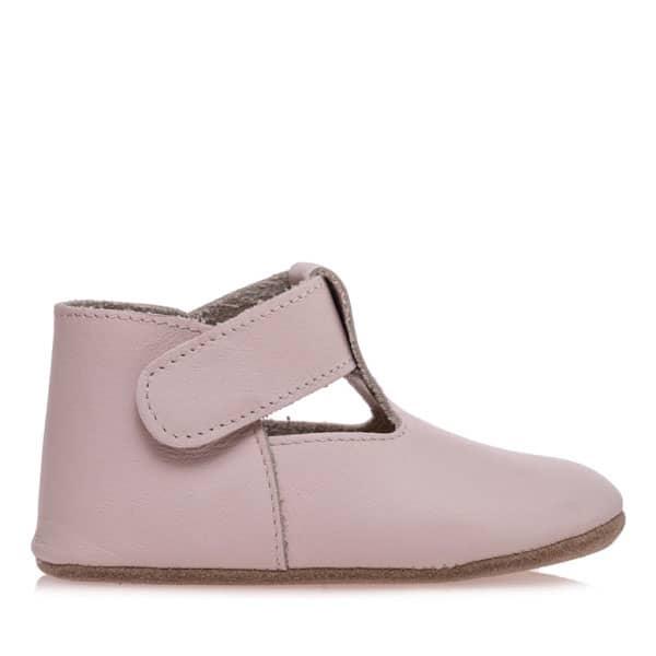 Merli&Rose Deri Cırtlı Bebek Ayakkabı açık pembe