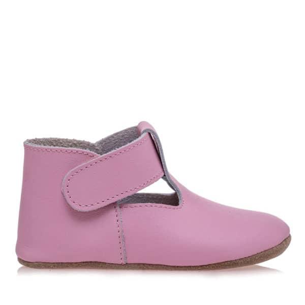 Merli&Rose Deri Cırtlı Bebek Ayakkabı (Pembe)