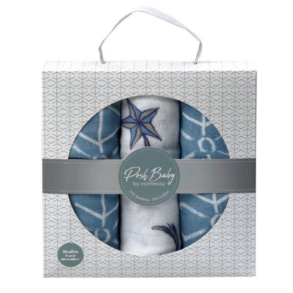 Posh Baby Müslin Örtü 3'lü Set | Kutup Yıldızı/Mavi Geo/Kutup Yıldızı