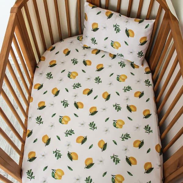 Tarkito Organic Lastikli Çarşaf Takımı Limon Çiçeği